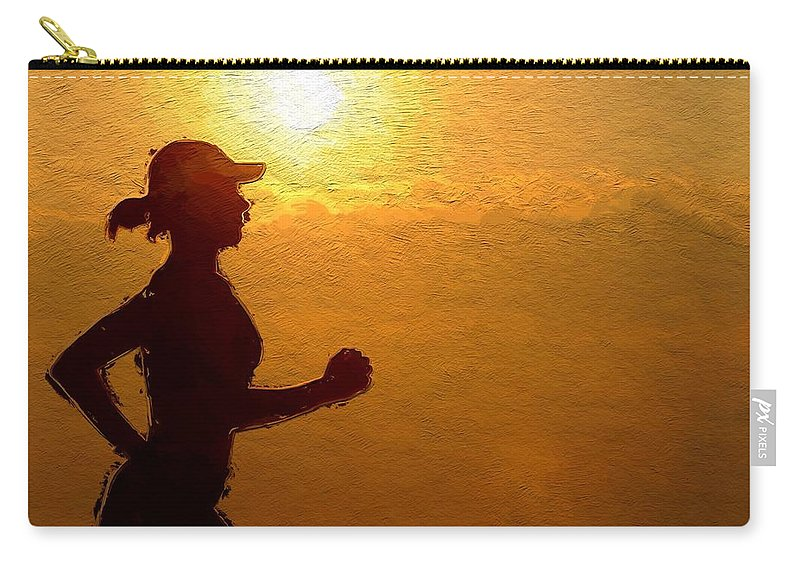 Sun Sunset Clous Woman Girl Female Jogging Sport Silhouette Curves Sexy Expressionism Carry-all Pouch featuring the painting Into The Sunset by Steve K