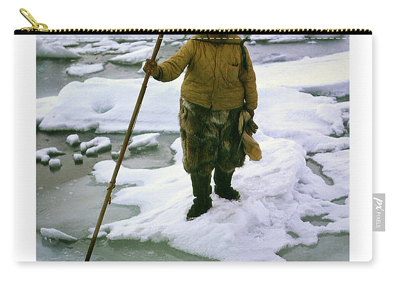 Inuit Carry-all Pouch featuring the photograph Inuit Seal Hunter Barrow Alaska July 1969 by California Views Archives Mr Pat Hathaway Archives