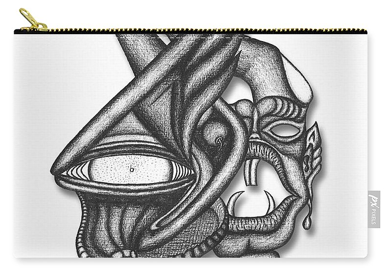 Ion Tiki Carry-all Pouch featuring the drawing Ion Tiki by Carl Hunter