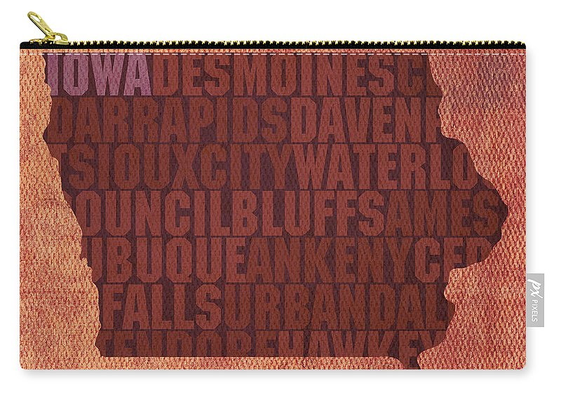 Iowa Word Art State Map On Canvas Carry-all Pouch featuring the mixed media Iowa Word Art State Map on Canvas by Design Turnpike