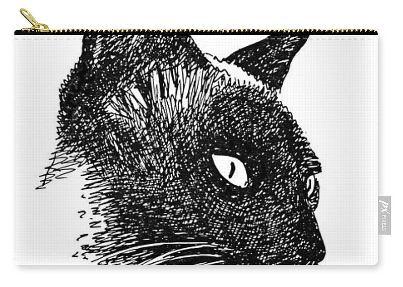 Iphone Carry-all Pouch featuring the drawing iPhone-Case-Cat-Siamese by Gordon Punt