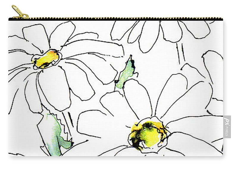Daisy Carry-all Pouch featuring the drawing iPhone-Case-Flower-Daisy2 by Gordon Punt