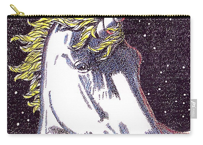 Unicorn Carry-all Pouch featuring the drawing iPhone-Case-Unicorn-2 by Gordon Punt