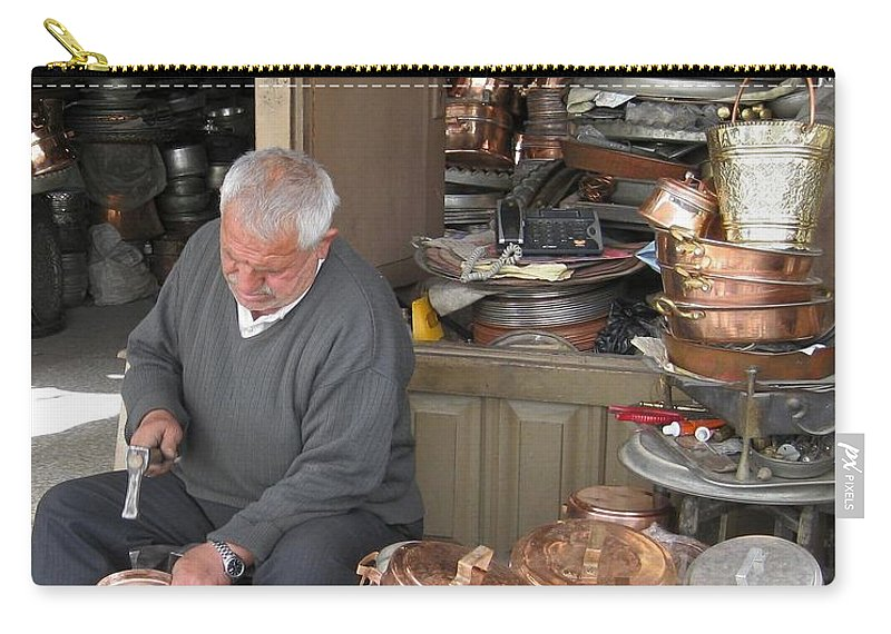 Copper Carry-all Pouch featuring the photograph Iran Isfahan Copper Artisan by Lois Ivancin Tavaf