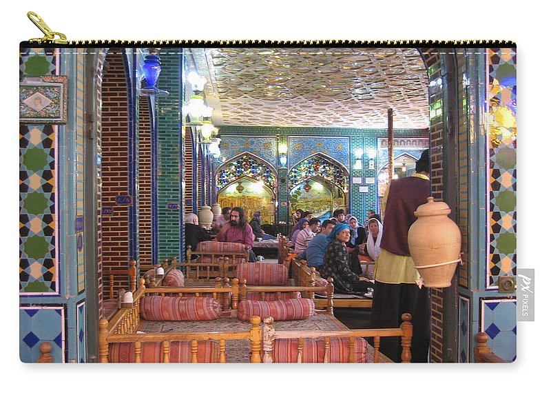 Iran Carry-all Pouch featuring the photograph Iran Isfahan Restaurant by Lois Ivancin Tavaf