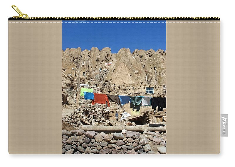 Kandovan Carry-all Pouch featuring the photograph Iran Kandovan Stone Village Laundry by Lois Ivancin Tavaf