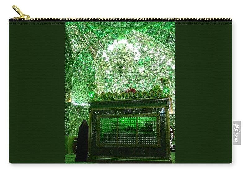 Shiraz Carry-all Pouch featuring the photograph Iran Shiraz Mausoleum by Lois Ivancin Tavaf