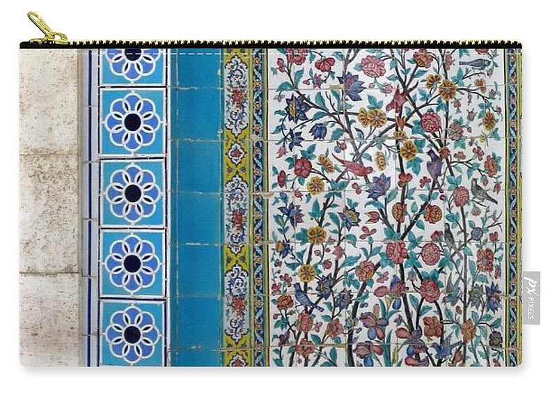 Shiraz Carry-all Pouch featuring the photograph Iran Shiraz Tile And Fountain by Lois Ivancin Tavaf