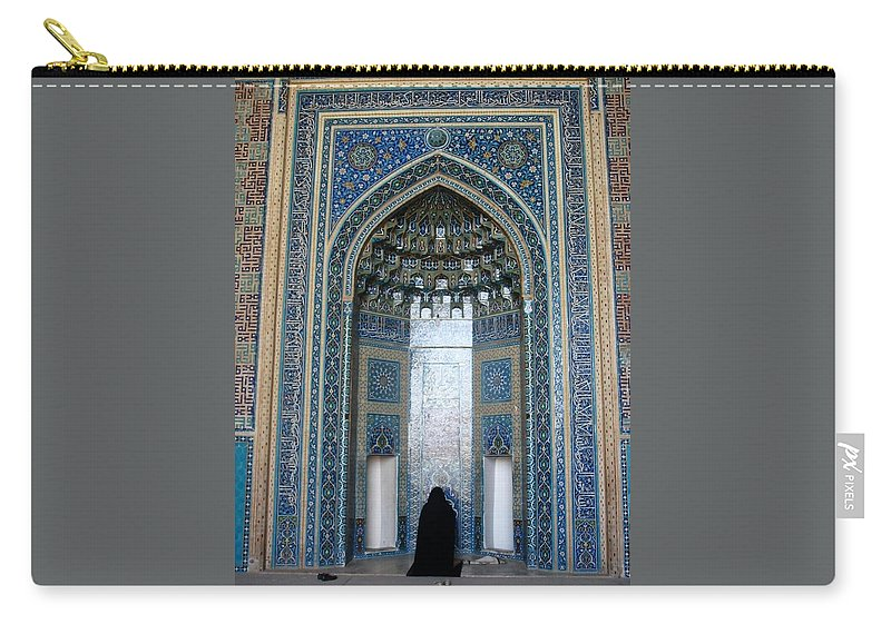 Yazd Carry-all Pouch featuring the photograph Iran Yazd Mosque Visitor by Lois Ivancin Tavaf