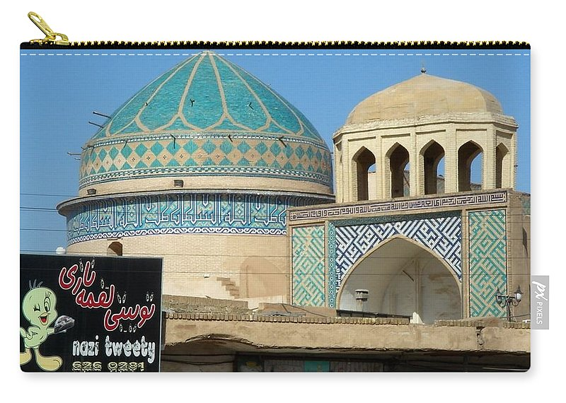 Yazd Carry-all Pouch featuring the photograph Iran Yazd Old And New by Lois Ivancin Tavaf