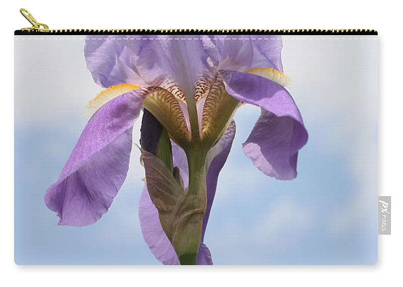 Blue Carry-all Pouch featuring the photograph Iris 27 Reaching For The Sky by Allen Beatty