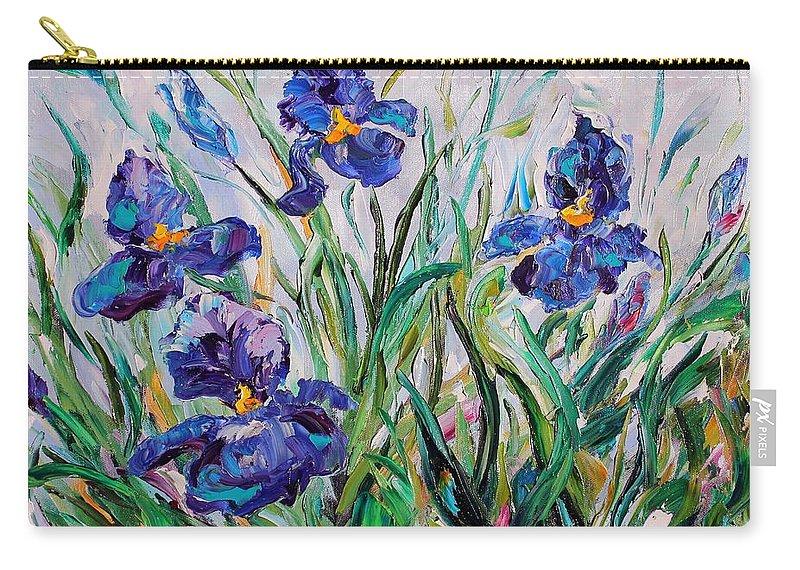 Iris Carry-all Pouch featuring the painting Iris Garden by Karen Tarlton