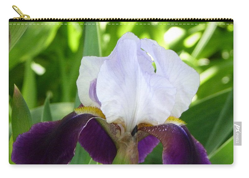 Purple Iris Carry-all Pouch featuring the photograph Iris by Karen Capehart