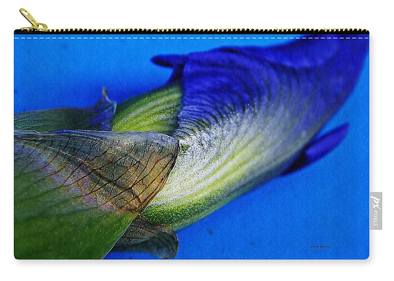 Nature Carry-all Pouch featuring the photograph Iris On Blue by Chris Berry