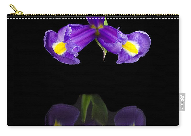 Black Background Carry-all Pouch featuring the photograph Iris Reflection by David Head