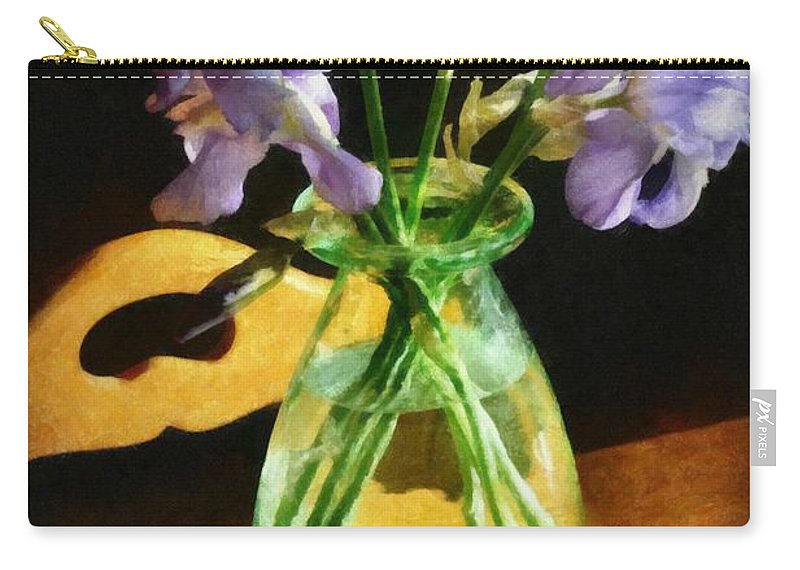 Still Life Carry-all Pouch featuring the photograph Irises In Morning Light by Michelle Calkins