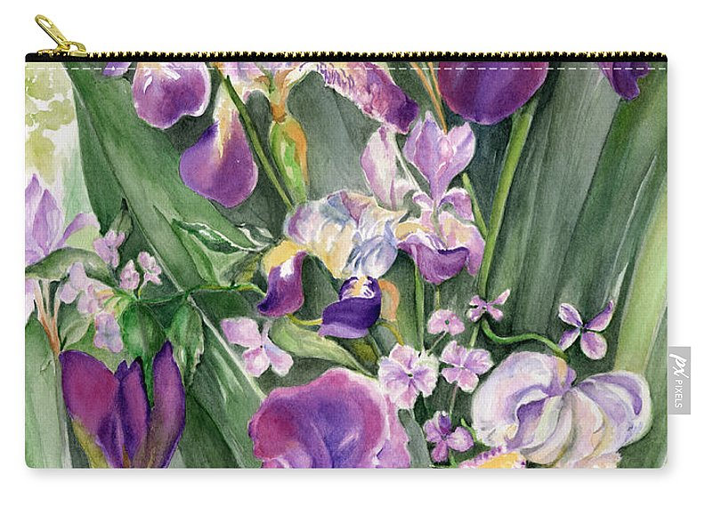 Floral Carry-all Pouch featuring the painting Irises In The Garden by Nadine Dennis