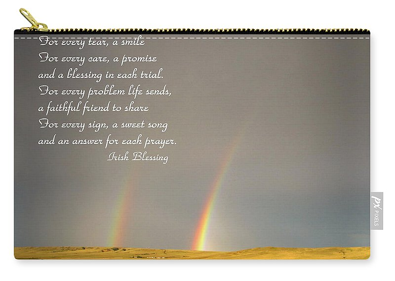 Blessing Carry-all Pouch featuring the photograph Irish Blessing Double Rainbow 07 11 14 by Joyce Dickens