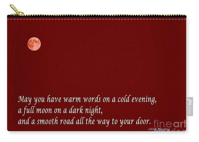 Irish Blessing Carry-all Pouch featuring the photograph Irish Blessing - Full Moon - Greeting - Red by Barbara Griffin