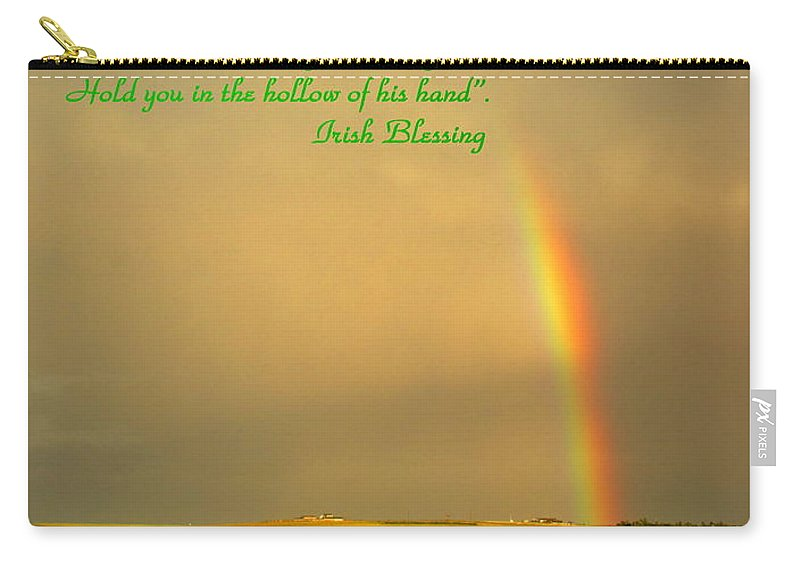Blessing Carry-all Pouch featuring the photograph Irish Blessing Rain On The Prairie by Joyce Dickens