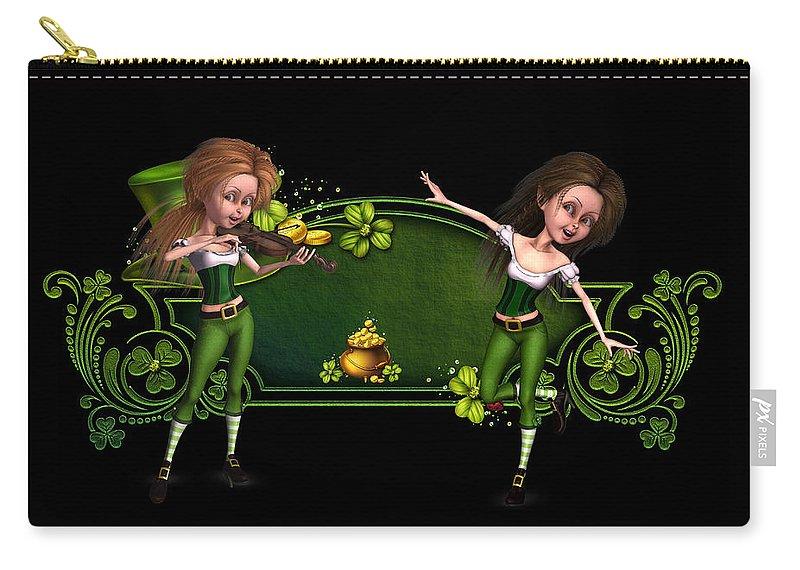 Irish Dancers Carry-all Pouch featuring the digital art Irish dancers ii by John Junek
