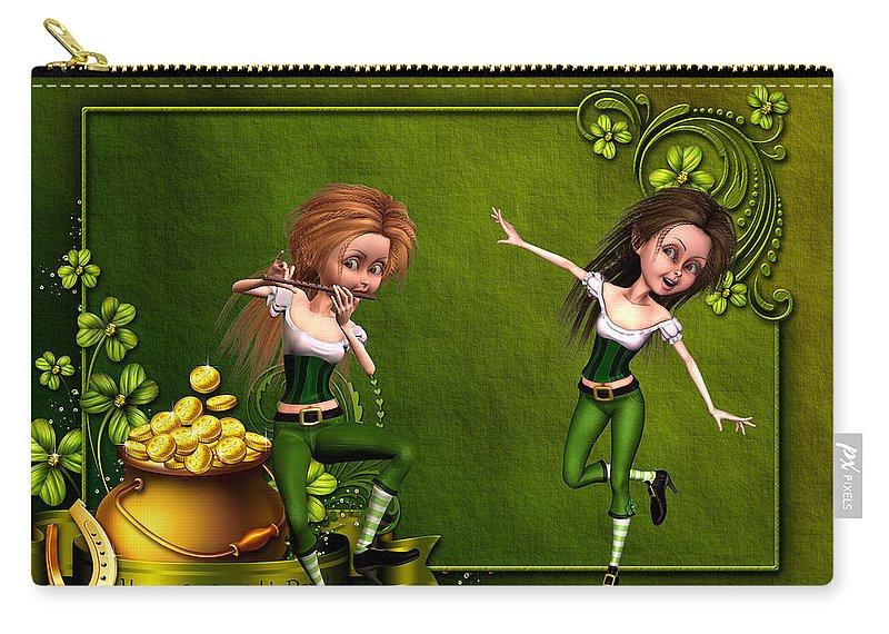 Irish Dancers Carry-all Pouch featuring the digital art Irish dancers by John Junek