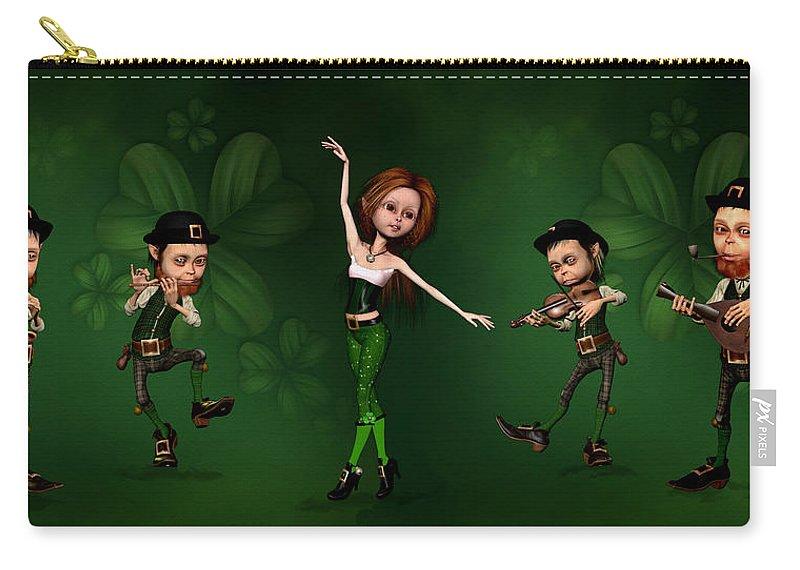 Irish Dancer Digital Art Carry-all Pouch featuring the digital art Irish Music Group by John Junek