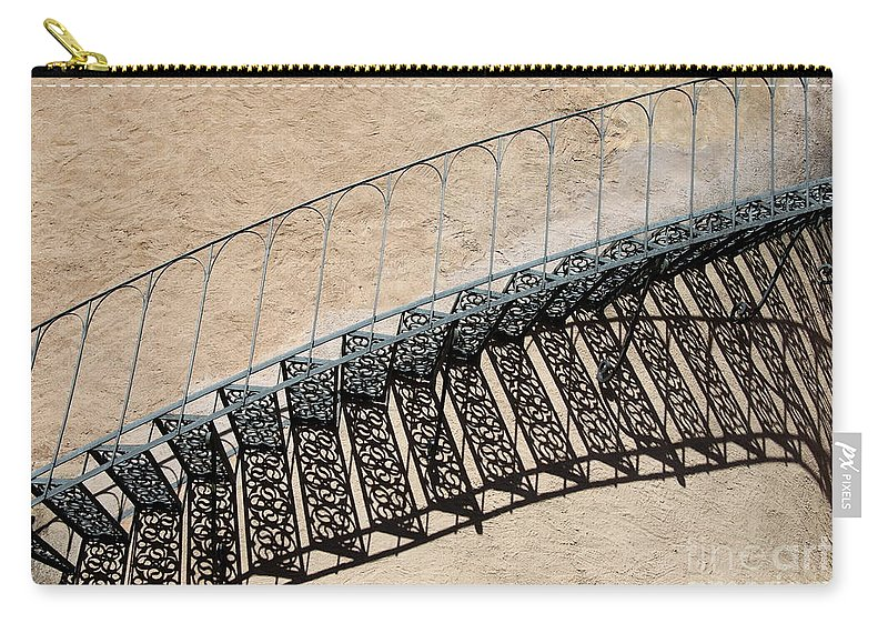 Stairs Carry-all Pouch featuring the photograph Iron Stairs Shadow by Christiane Schulze Art And Photography