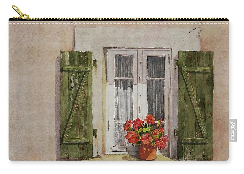Watercolor Carry-all Pouch featuring the painting Irvillac Window by Mary Ellen Mueller Legault