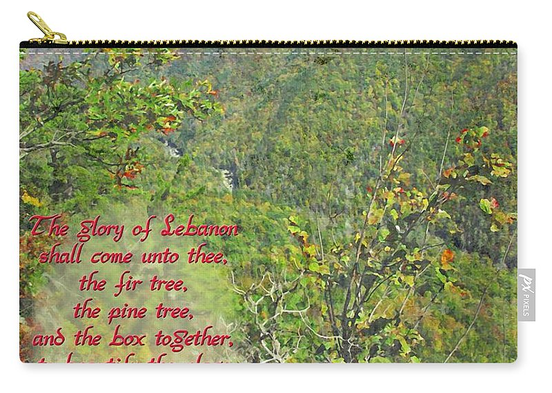 Jesus Carry-all Pouch featuring the digital art Isaiah 60 13 by Michelle Greene Wheeler