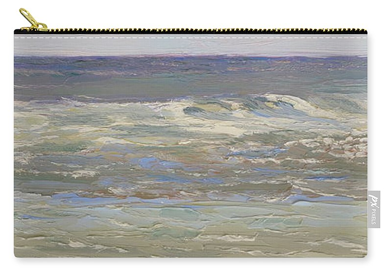 Seascape Carry-all Pouch featuring the painting Island Beach Waves by Lea Novak