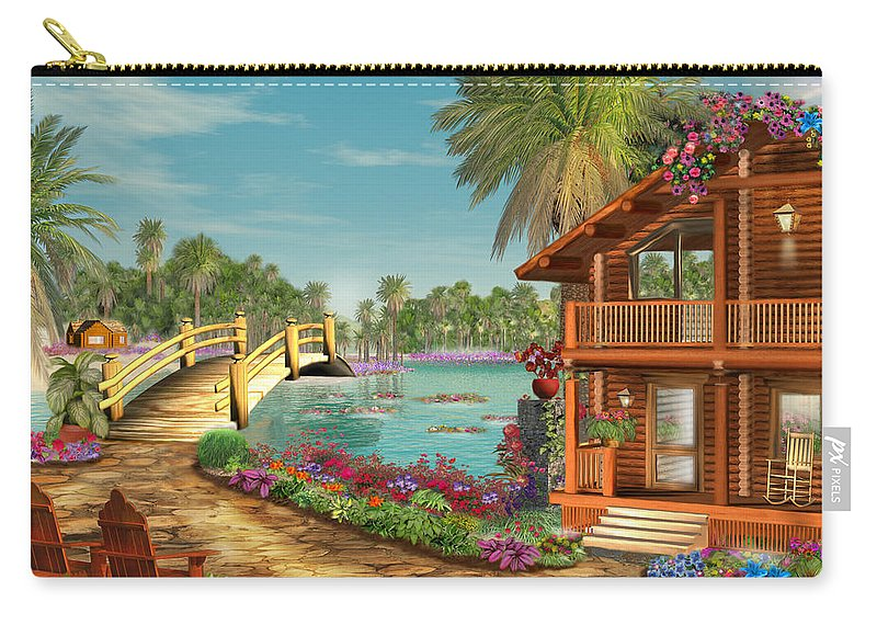 Art Licensing Carry-all Pouch featuring the mixed media Island Dreams by Caplyn Dor