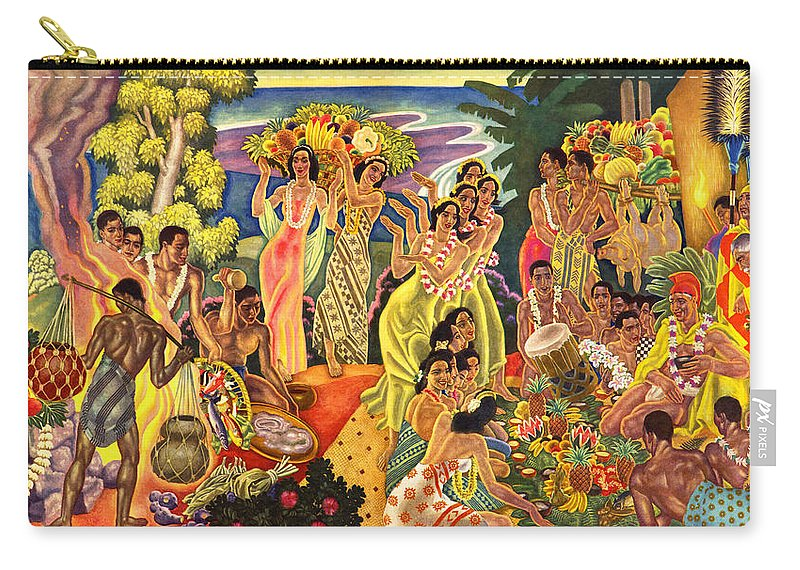 Hawaii Greeting Cards Carry-all Pouch featuring the painting Island Feast by James Temple