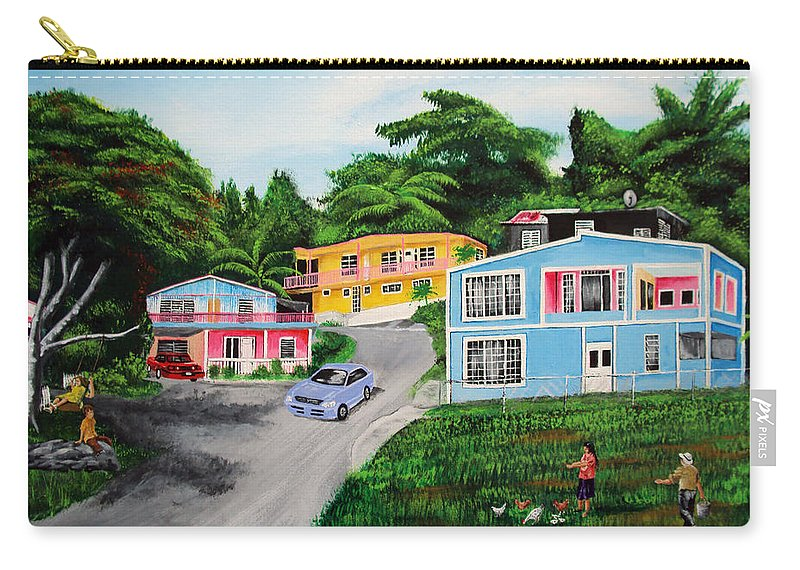 Loma Carry-all Pouch featuring the painting Island Hillside Living by Luis F Rodriguez