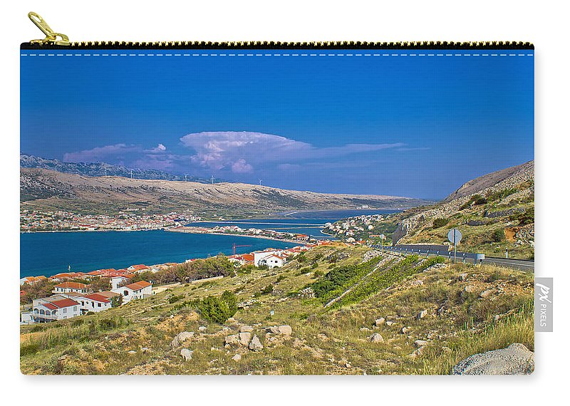 Croatia Carry-all Pouch featuring the photograph Island Of Pag Aerial Bay View by Brch Photography