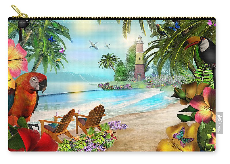 Art Licensing Carry-all Pouch featuring the mixed media Island Of Palms by Caplyn Dor