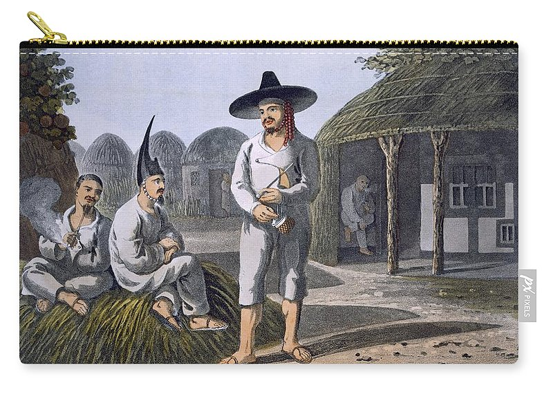 Illustration Carry-all Pouch featuring the drawing Islanders Of Sir James Halls Group, 1820 by English School