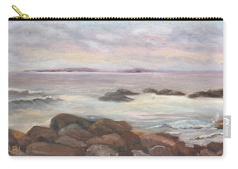 Isles Of Shoals Carry-all Pouch featuring the painting Isles Of Shoals From Odiorne Point by Sharon E Allen