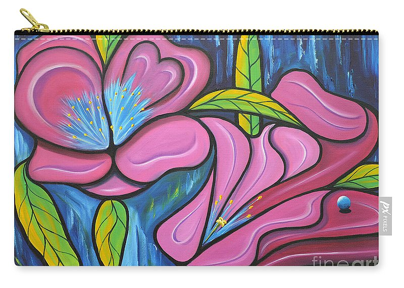 Pink Carry-all Pouch featuring the painting It Was Pink And Blue by Tony Oakey