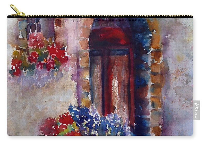 Montepulciano Carry-all Pouch featuring the painting Italian Door by Carolyn Jarvis
