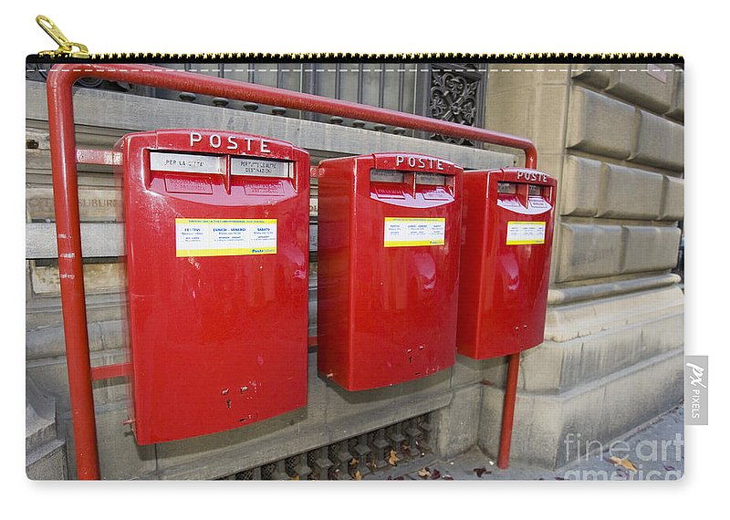 Travel Carry-all Pouch featuring the photograph Italian Post Office Boxes by Jason O Watson