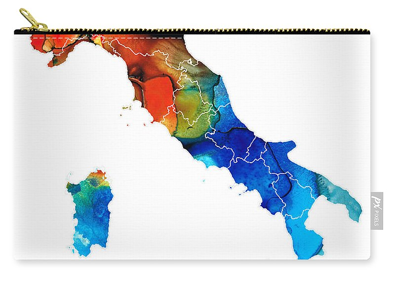 Map Of Italy In Italian.Italy Italian Map By Sharon Cummings Carry All Pouch