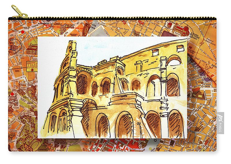 Italy Carry-all Pouch featuring the painting Italy Sketches Rome Colosseum Ruins by Irina Sztukowski
