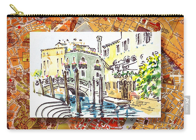 Italy Carry-all Pouch featuring the painting Italy Sketches Venice Canale by Irina Sztukowski