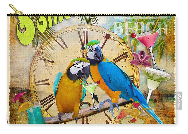 5 O'clock Carry-all Pouch featuring the digital art It's 5 O'clock Somewhere by Anita Hubbard