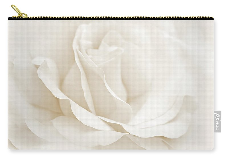 Rose Carry-all Pouch featuring the photograph Ivory Ballerina Rose Flower by Jennie Marie Schell