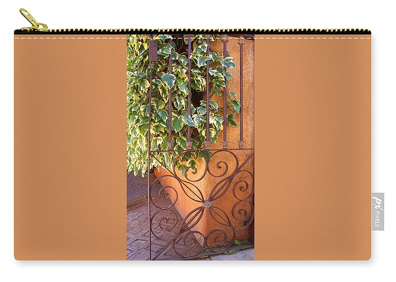 Architectural Detail Carry-all Pouch featuring the photograph Ivy And Old Iron Gate by Ben and Raisa Gertsberg
