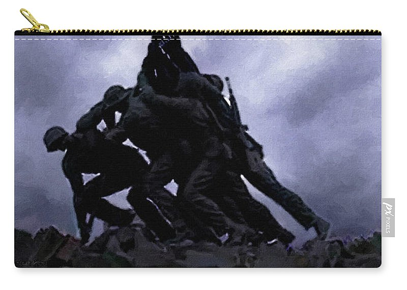 Battle Of Iwo Jima Carry-all Pouch featuring the painting Iwo Jima Memorial by Bob and Nadine Johnston