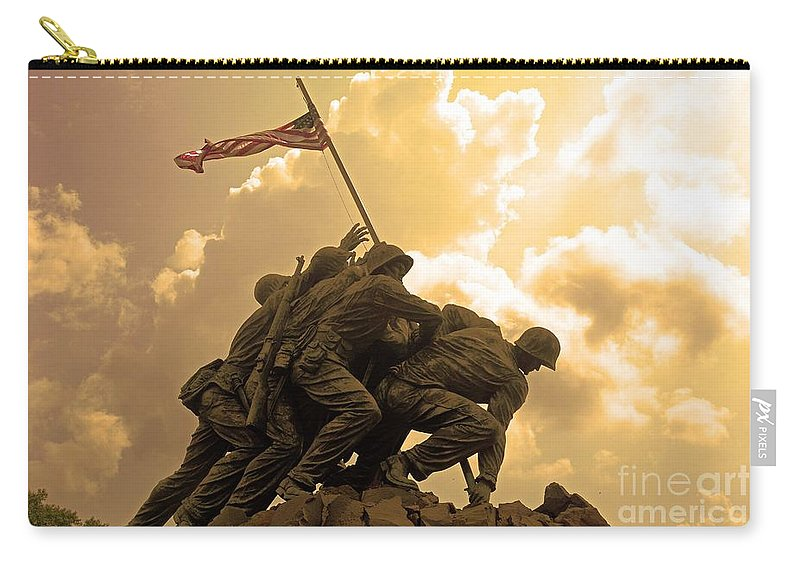 Iwo Jima Carry-all Pouch featuring the photograph Iwo Jima Memorialized by Cindy Manero