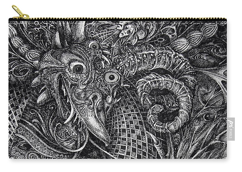 Surrealism Carry-all Pouch featuring the drawing Jabberwocky by Otto Rapp